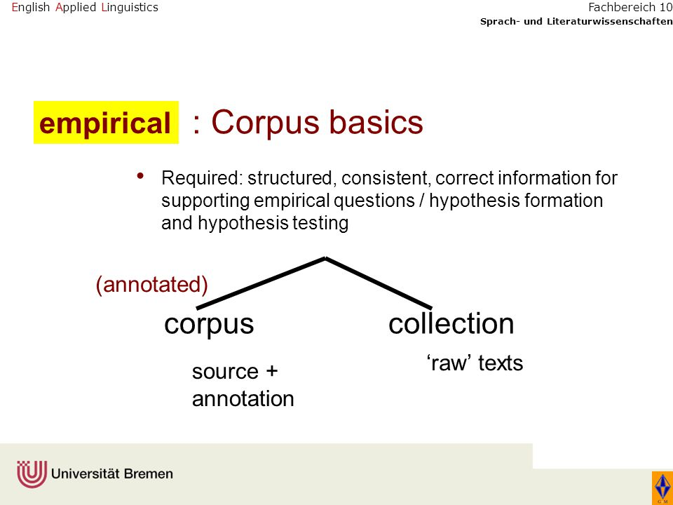 English Applied Linguistics Sprach- und Literaturwissenschaften Fachbereich 10 TEI: Text Encoding Initiative CES: Corpus Encoding Standard XCES: XML version GEM annotation scheme