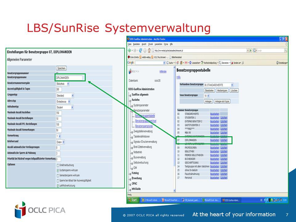 8 Screens von der LBS/SunRise GUI Katalogerfassung mit frei wählbaren Kategorien oder Feldbezeichnungen Liste aller definierten Kategorien als Erfassungshilfe