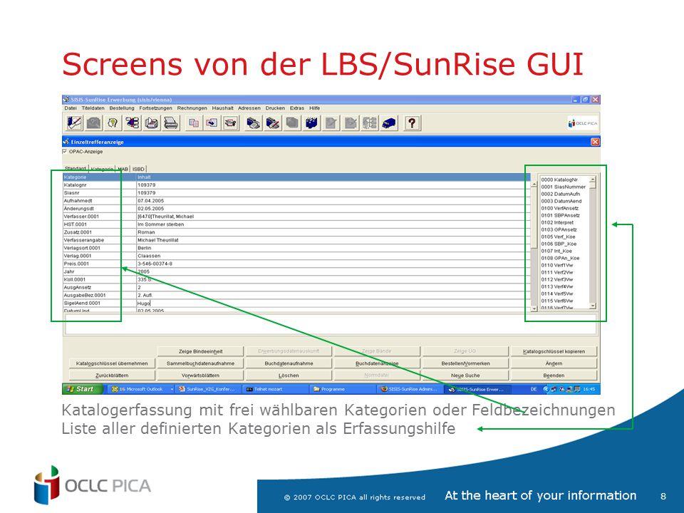 19 Screens … Import/Export Import/Exportfunktionen für alle gängigen Formate (MARC21, MAB2, …)