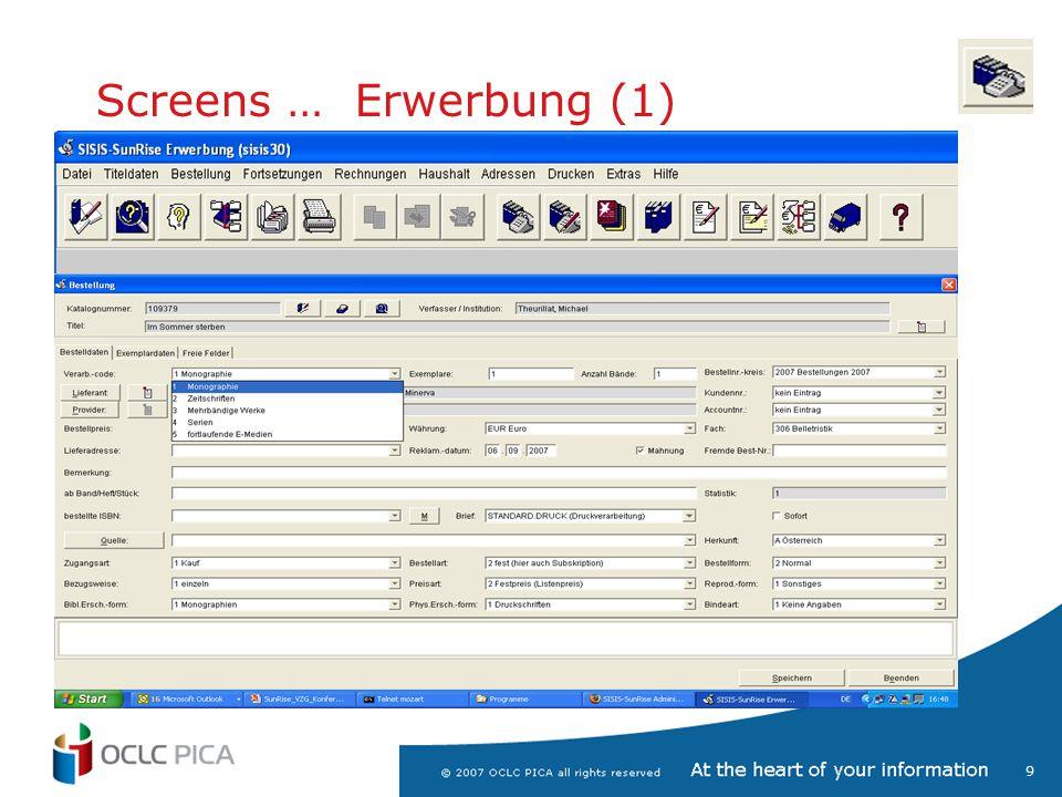 10 Screens … Erwerbung (2) Aufteilung auf Haushalte (4-stufig), Besteller, Zweigstellen