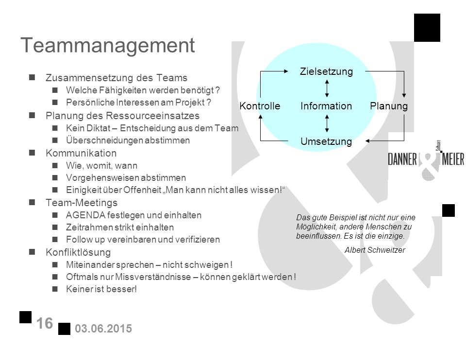 03.06.2015 16 Teammanagement nZusammensetzung des Teams nWelche Fähigkeiten werden benötigt ? nPersönliche Interessen am Projekt ? nPlanung des Ressou