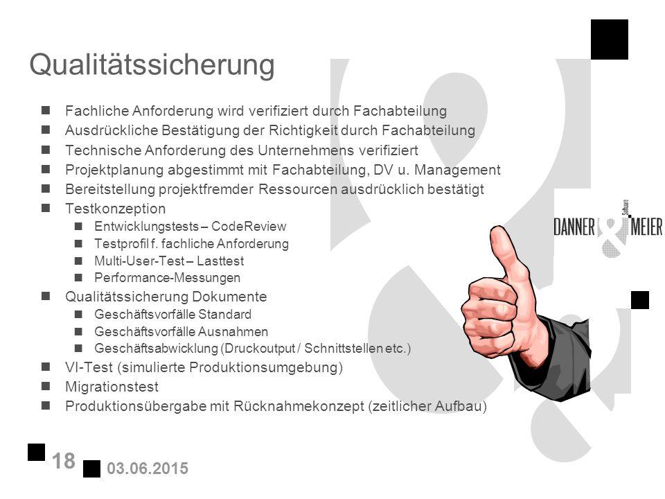 03.06.2015 18 Qualitätssicherung nFachliche Anforderung wird verifiziert durch Fachabteilung nAusdrückliche Bestätigung der Richtigkeit durch Fachabte