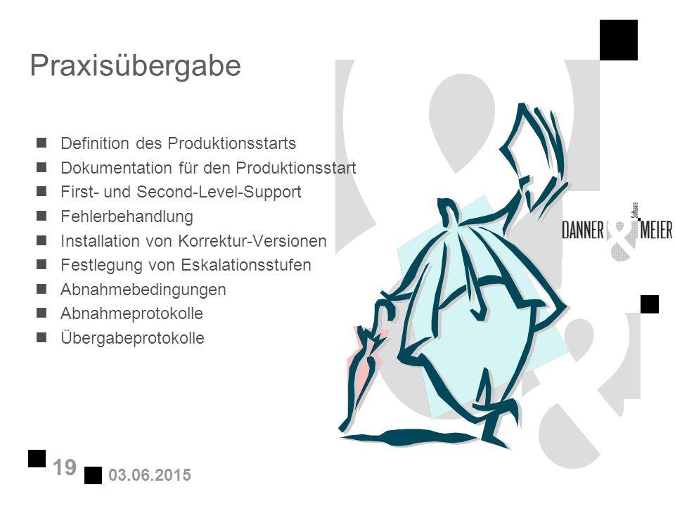 03.06.2015 19 Praxisübergabe nDefinition des Produktionsstarts nDokumentation für den Produktionsstart nFirst- und Second-Level-Support nFehlerbehandl