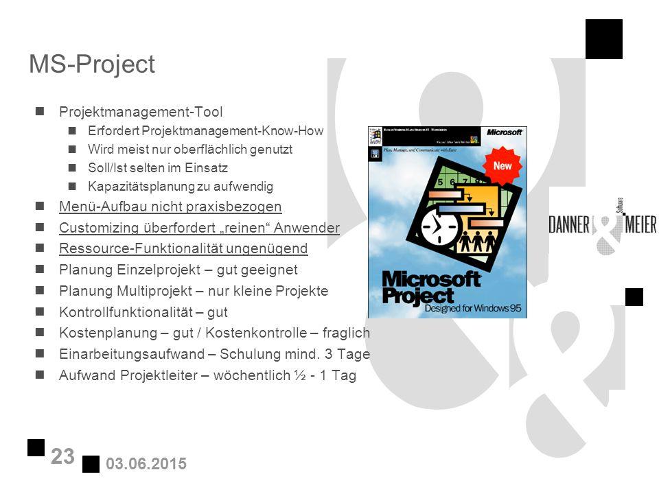 03.06.2015 23 MS-Project nProjektmanagement-Tool nErfordert Projektmanagement-Know-How nWird meist nur oberflächlich genutzt nSoll/Ist selten im Einsa