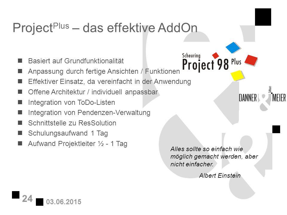 03.06.2015 24 Project Plus – das effektive AddOn nBasiert auf Grundfunktionalität nAnpassung durch fertige Ansichten / Funktionen nEffektiver Einsatz,