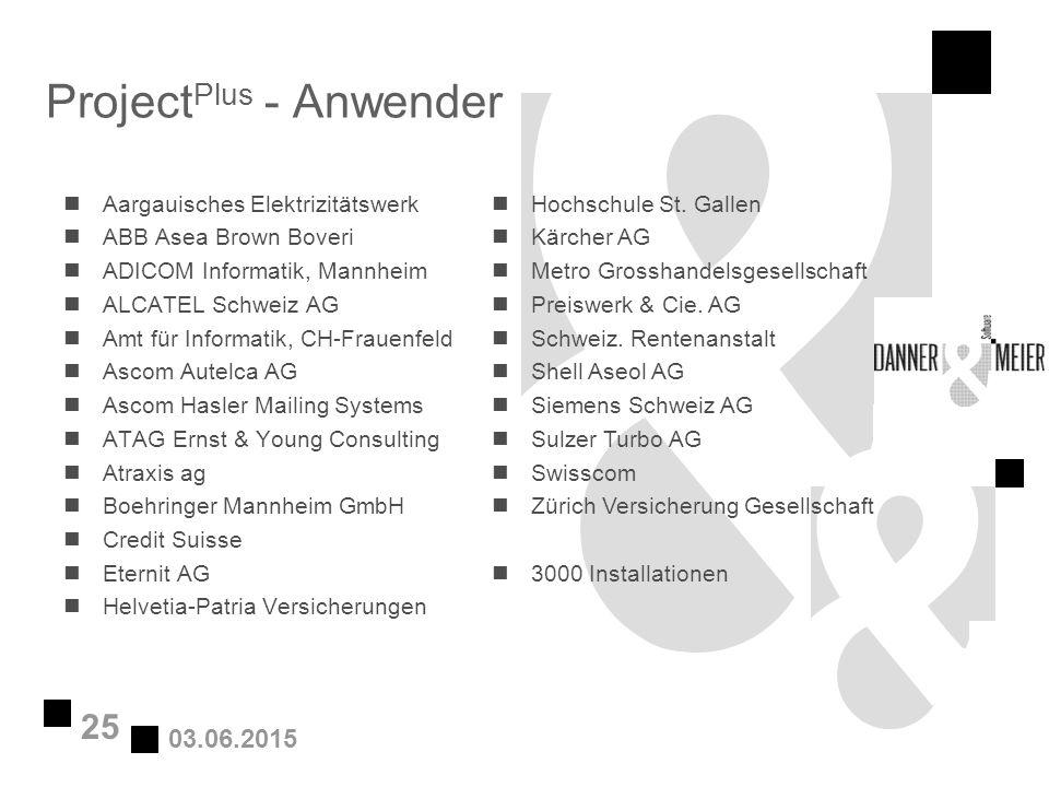 03.06.2015 25 Project Plus - Anwender nAargauisches Elektrizitätswerk nABB Asea Brown Boveri nADICOM Informatik, Mannheim nALCATEL Schweiz AG nAmt für