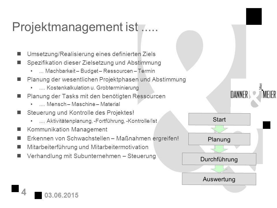 03.06.2015 4 Projektmanagement ist..... nUmsetzung/Realisierung eines definierten Ziels nSpezifikation dieser Zielsetzung und Abstimmung... Machbarkei