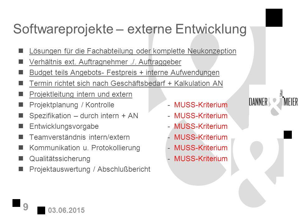 03.06.2015 9 Softwareprojekte – externe Entwicklung nLösungen für die Fachabteilung oder komplette Neukonzeption nVerhältnis ext. Auftragnehmer./. Auf