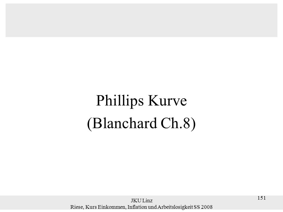 JKU Linz Riese, Kurs Einkommen, Inflation und Arbeitslosigkeit SS 2008 152 Einleitung Die Phillipskurve, basierend auf obigen Daten, zeigt eine negative Beziehung zwischen Inflation und Arbeitslosigkeit.