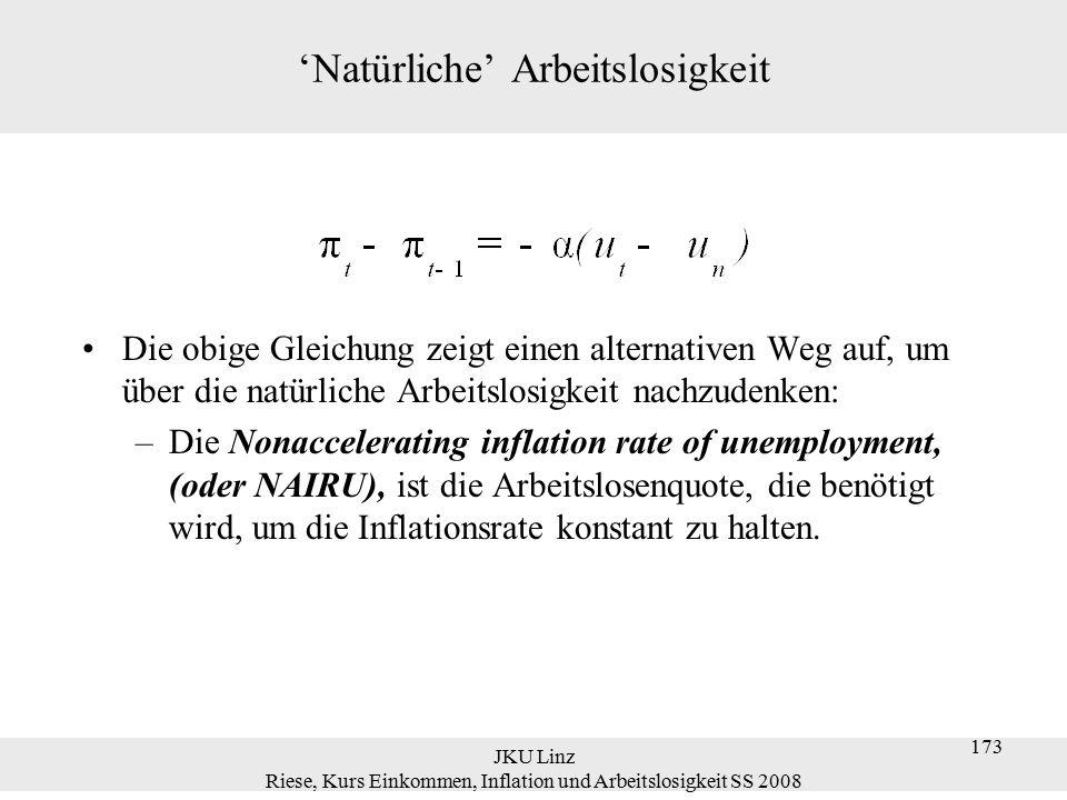 JKU Linz Riese, Kurs Einkommen, Inflation und Arbeitslosigkeit SS 2008 173 'Natürliche' Arbeitslosigkeit Die obige Gleichung zeigt einen alternativen