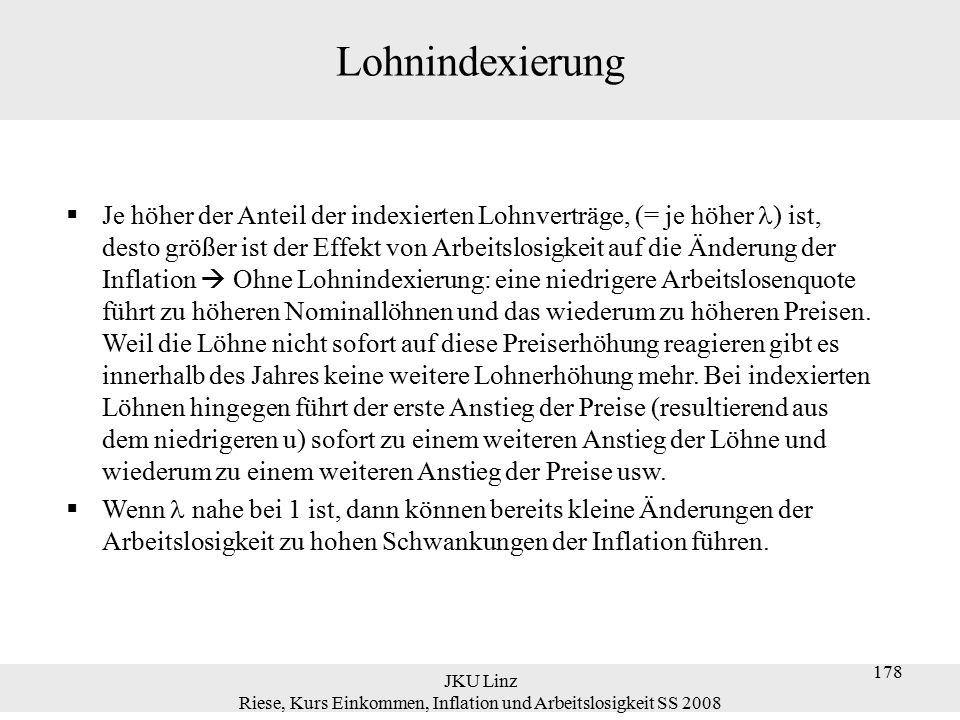 JKU Linz Riese, Kurs Einkommen, Inflation und Arbeitslosigkeit SS 2008 178 Lohnindexierung  Je höher der Anteil der indexierten Lohnverträge, (= je h