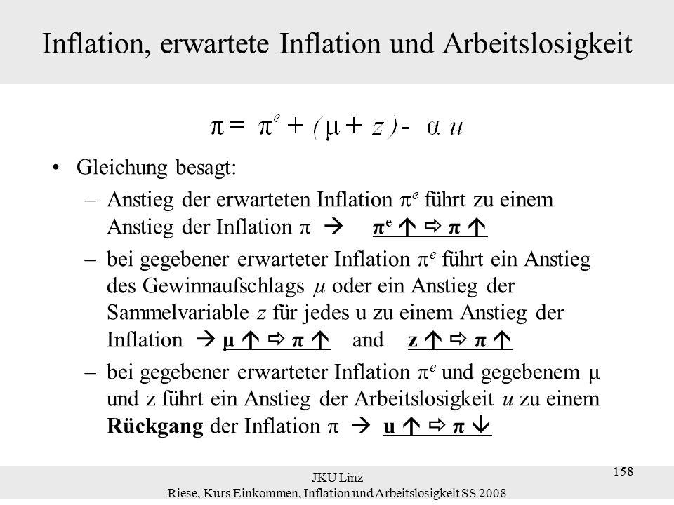 JKU Linz Riese, Kurs Einkommen, Inflation und Arbeitslosigkeit SS 2008 159 Phillipskurve Wenn  P e t =P t-1  Das ist die negative Beziehung zwischen Arbeitslosigkeit und Inflation, die Phillips für Großbritannien und Solow/ Samuelson für die Vereinigten Staaten fanden (die ursprüngliche Phillipskurve).