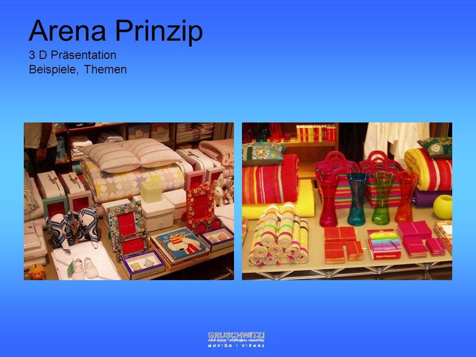Grundlagen der Warenpräsentation Sauberkeit Arenaprinzip, Blickwinkelgesetz Ästhetik und Harmoniebedürfnis (Masse der Kunden) Sinnes Ansprachen (mit a