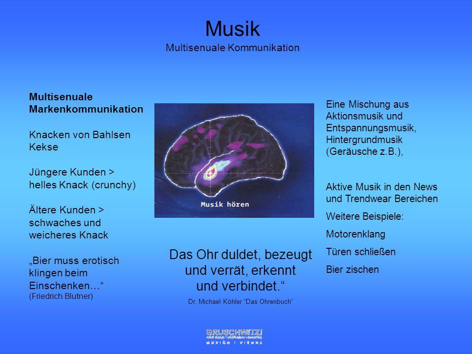 Ansprache der Sinne 90 % sehen (10 mio bit/sec) 8 % hören (1 mio bit/sec) 1 % riechen (100.000 bit/sec) 1% schmecken, tasten (100.000 bit/sec) Impulse