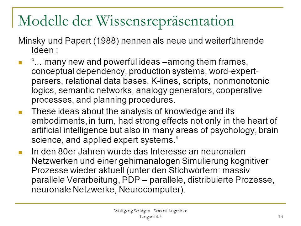 Wolfgang Wildgen Was ist kognitive Linguistik? 13 Modelle der Wissensrepräsentation Minsky und Papert (1988) nennen als neue und weiterführende Ideen