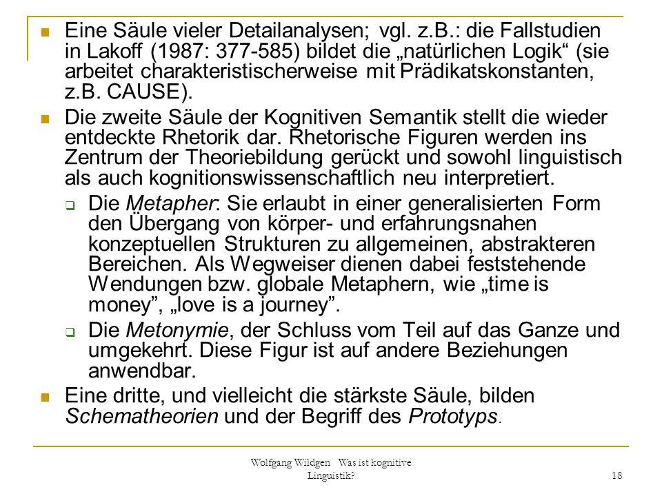 """Wolfgang Wildgen Was ist kognitive Linguistik? 18 Eine Säule vieler Detailanalysen; vgl. z.B.: die Fallstudien in Lakoff (1987: 377-585) bildet die """"n"""