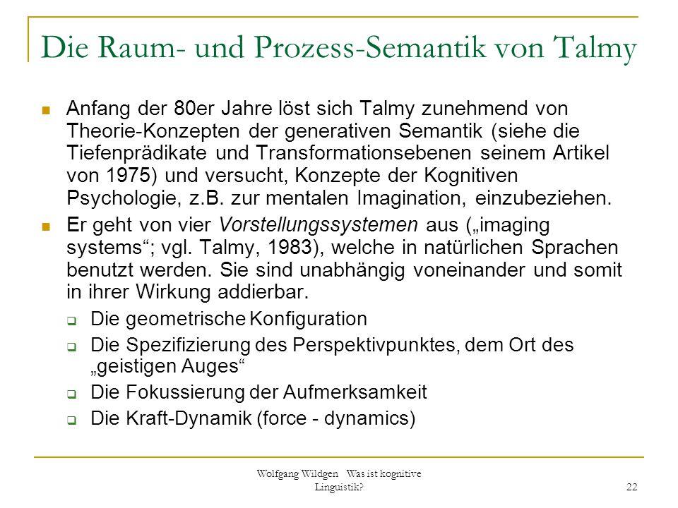 Wolfgang Wildgen Was ist kognitive Linguistik? 22 Die Raum- und Prozess-Semantik von Talmy Anfang der 80er Jahre löst sich Talmy zunehmend von Theorie