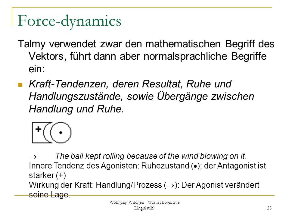 Wolfgang Wildgen Was ist kognitive Linguistik? 23 Force-dynamics Talmy verwendet zwar den mathematischen Begriff des Vektors, führt dann aber normalsp
