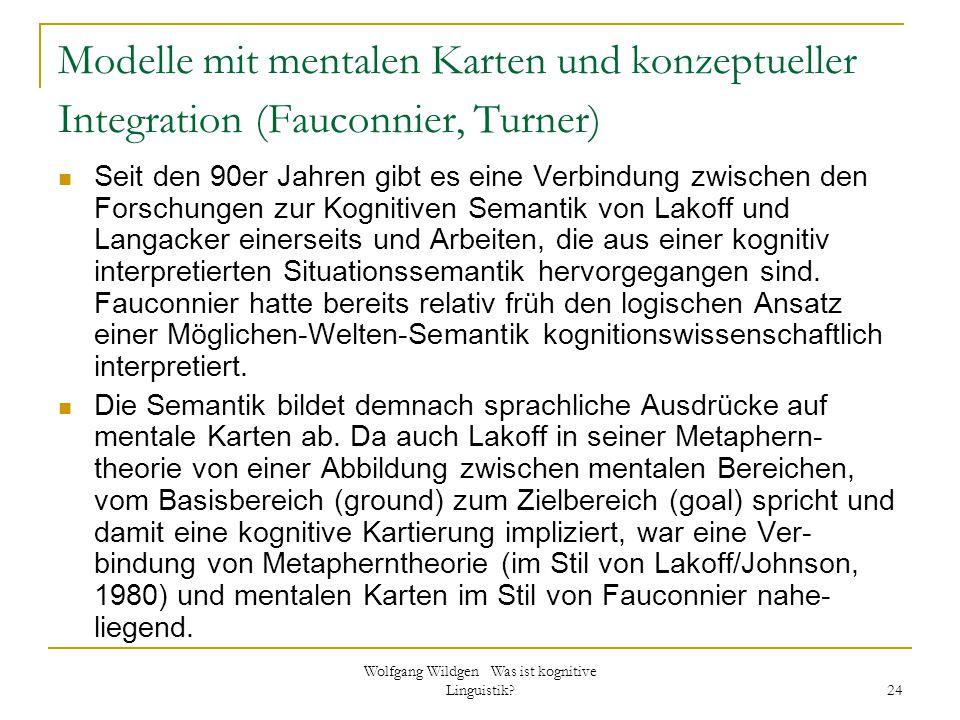 Wolfgang Wildgen Was ist kognitive Linguistik? 24 Modelle mit mentalen Karten und konzeptueller Integration (Fauconnier, Turner) Seit den 90er Jahren