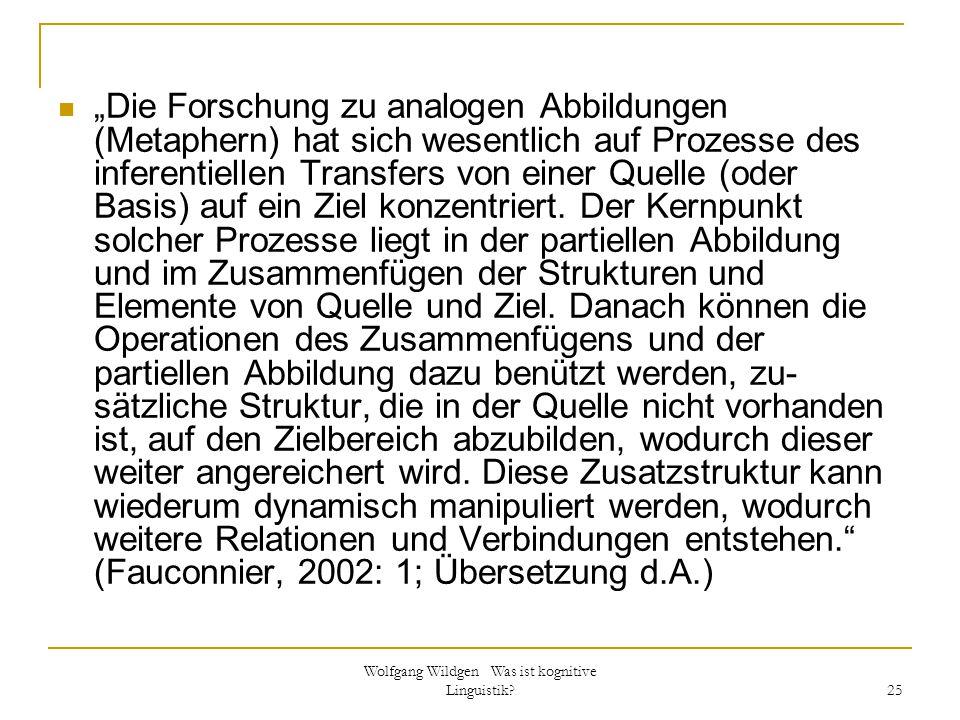 """Wolfgang Wildgen Was ist kognitive Linguistik? 25 """"Die Forschung zu analogen Abbildungen (Metaphern) hat sich wesentlich auf Prozesse des inferentiell"""