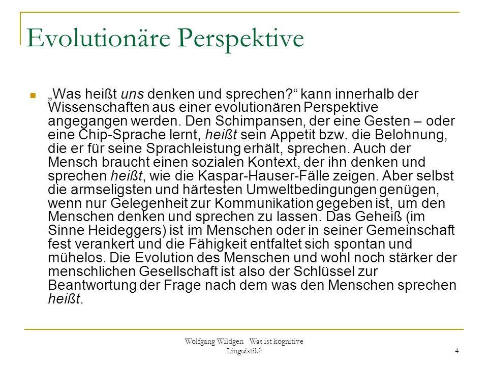 """Wolfgang Wildgen Was ist kognitive Linguistik? 4 Evolutionäre Perspektive """"Was heißt uns denken und sprechen?"""" kann innerhalb der Wissenschaften aus e"""