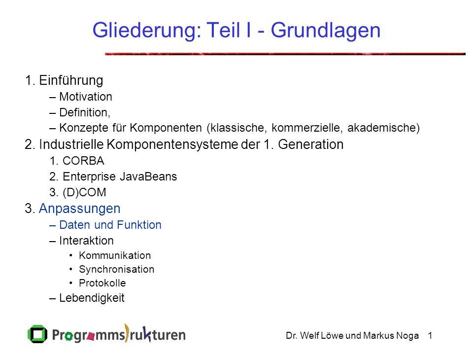 Dr. Welf Löwe und Markus Noga1 Gliederung: Teil I - Grundlagen 1. Einführung –Motivation –Definition, –Konzepte für Komponenten (klassische, kommerzie