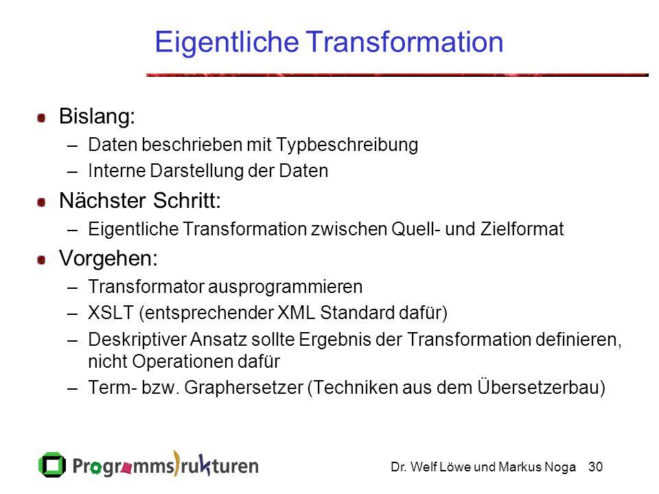 Dr. Welf Löwe und Markus Noga30 Eigentliche Transformation Bislang: –Daten beschrieben mit Typbeschreibung –Interne Darstellung der Daten Nächster Sch