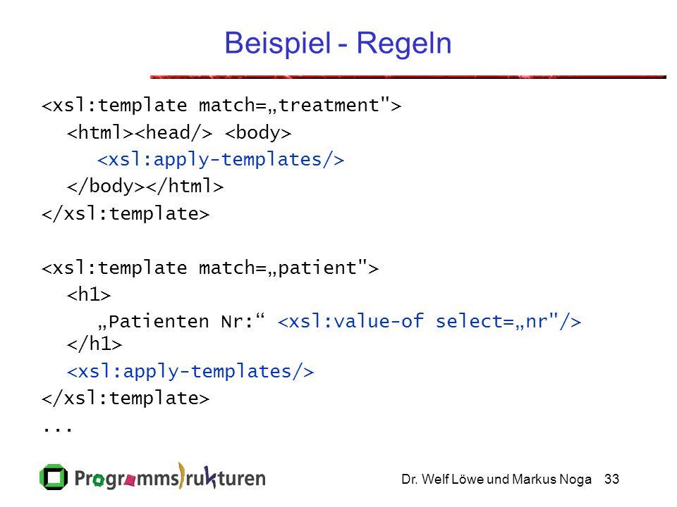 """Dr. Welf Löwe und Markus Noga33 Beispiel - Regeln """"Patienten Nr: ..."""