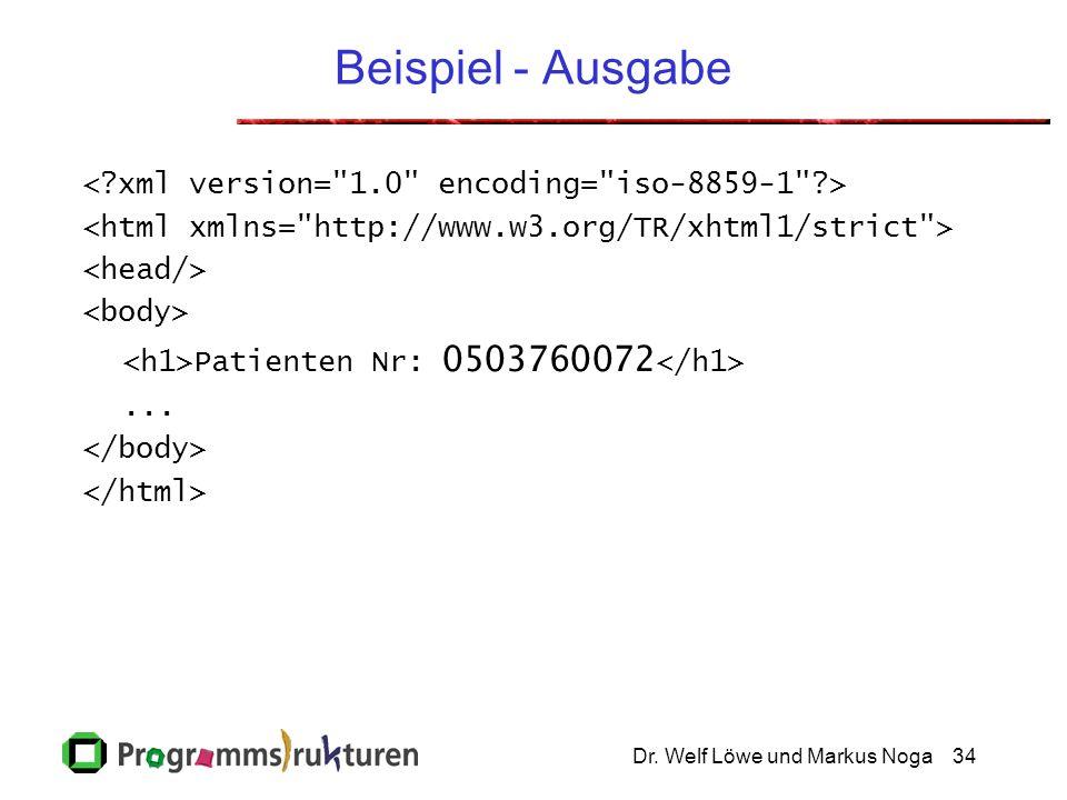 Dr. Welf Löwe und Markus Noga34 Beispiel - Ausgabe Patienten Nr: 0503760072...