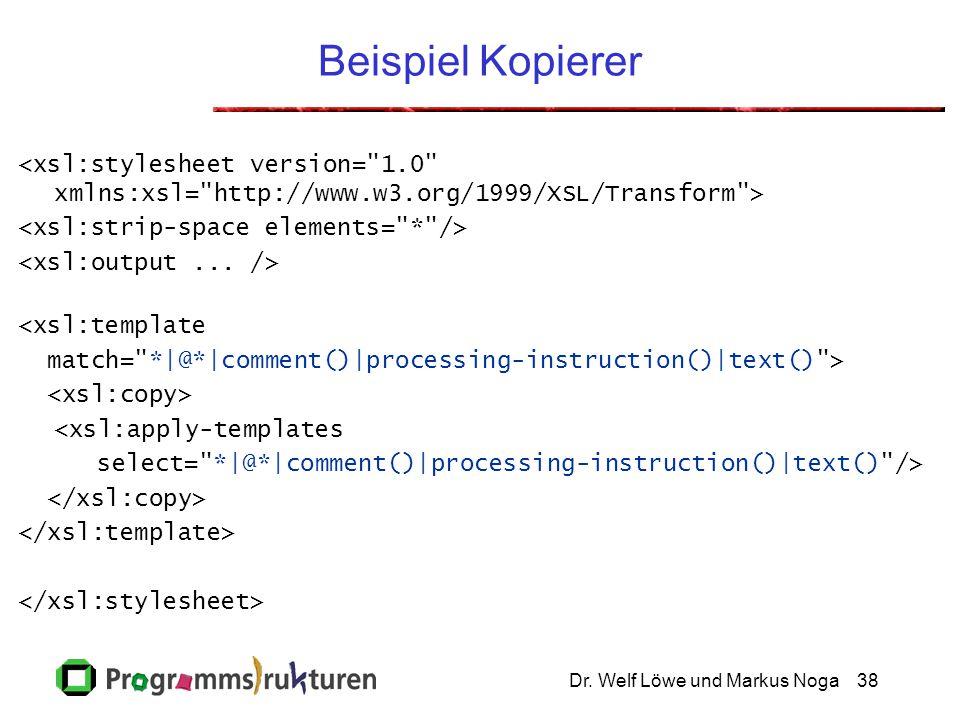 Dr. Welf Löwe und Markus Noga38 Beispiel Kopierer <xsl:template match=