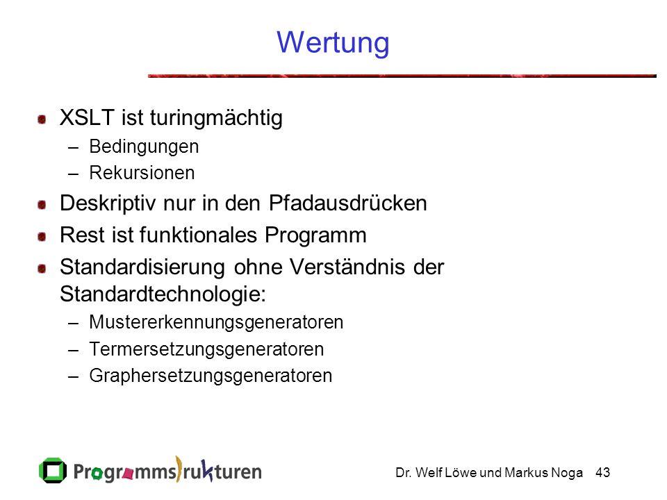 Dr. Welf Löwe und Markus Noga43 Wertung XSLT ist turingmächtig –Bedingungen –Rekursionen Deskriptiv nur in den Pfadausdrücken Rest ist funktionales Pr