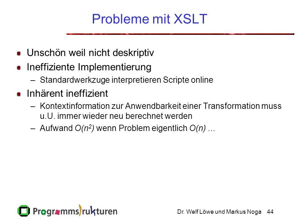 Dr. Welf Löwe und Markus Noga44 Probleme mit XSLT Unschön weil nicht deskriptiv Ineffiziente Implementierung –Standardwerkzuge interpretieren Scripte