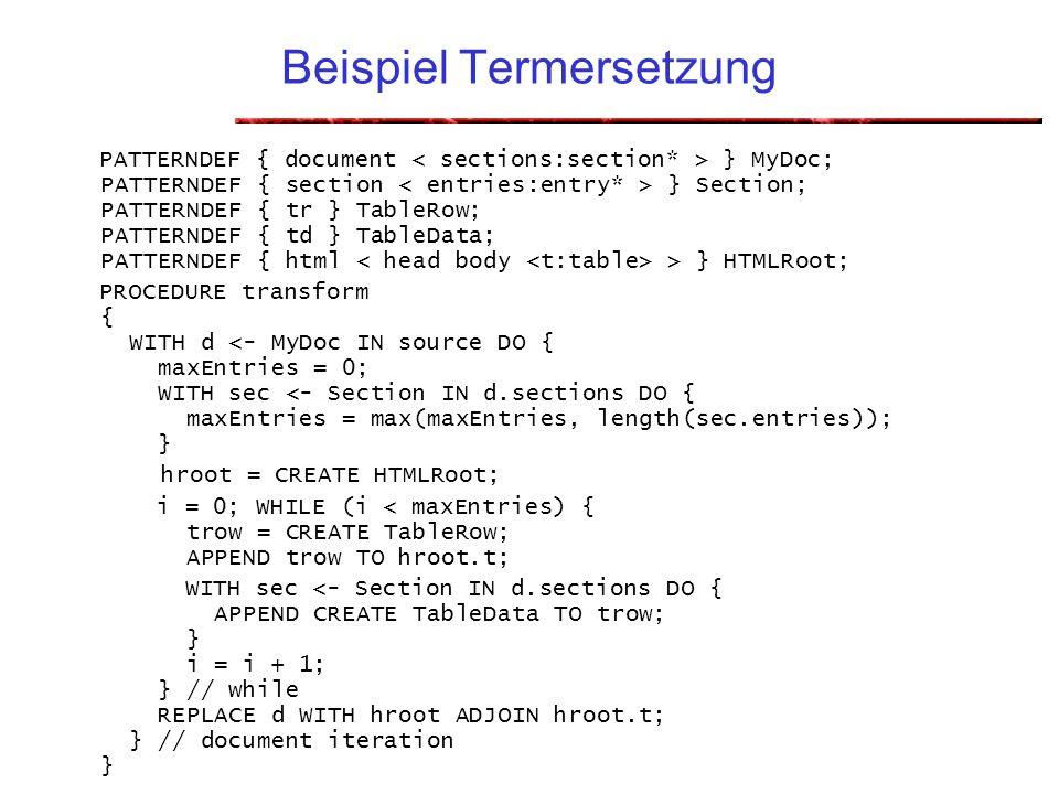 Dr. Welf Löwe und Markus Noga46 Beispiel Termersetzung PATTERNDEF { document } MyDoc; PATTERNDEF { section } Section; PATTERNDEF { tr } TableRow; PATT