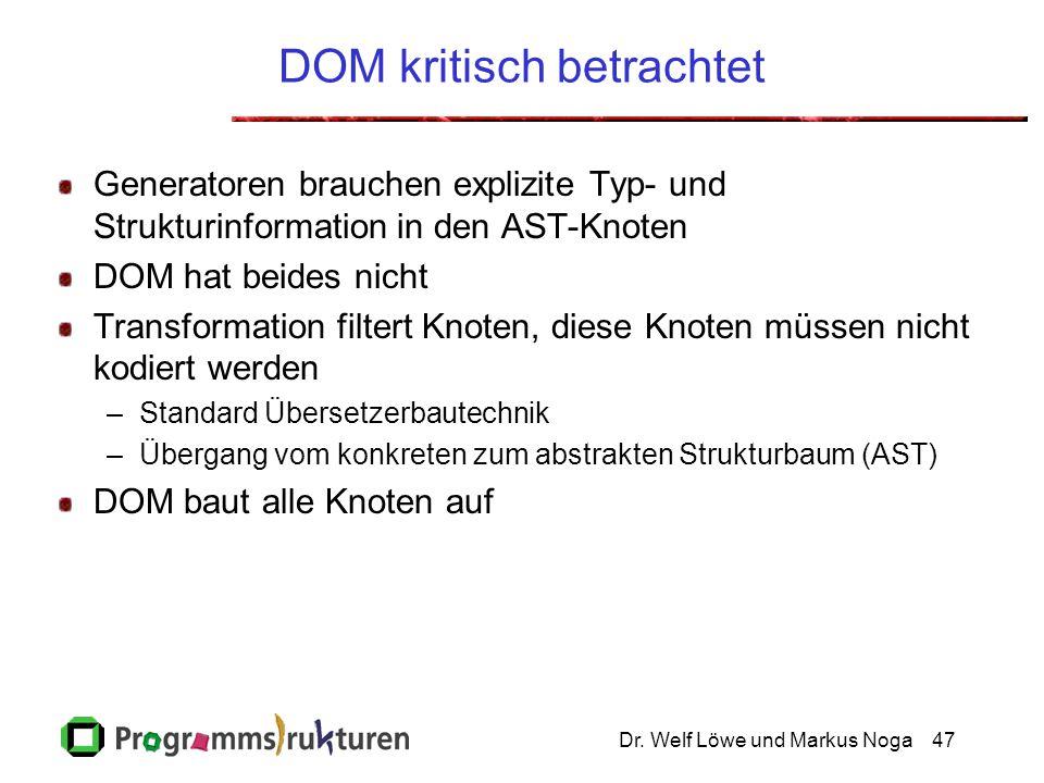 Dr. Welf Löwe und Markus Noga47 DOM kritisch betrachtet Generatoren brauchen explizite Typ- und Strukturinformation in den AST-Knoten DOM hat beides n