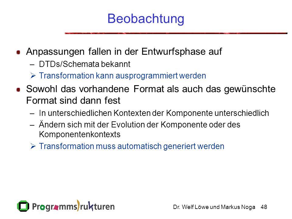 Dr. Welf Löwe und Markus Noga48 Beobachtung Anpassungen fallen in der Entwurfsphase auf –DTDs/Schemata bekannt  Transformation kann ausprogrammiert w