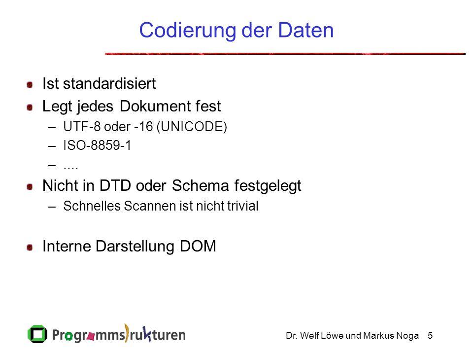Dr. Welf Löwe und Markus Noga5 Codierung der Daten Ist standardisiert Legt jedes Dokument fest –UTF-8 oder -16 (UNICODE) –ISO-8859-1 –.... Nicht in DT