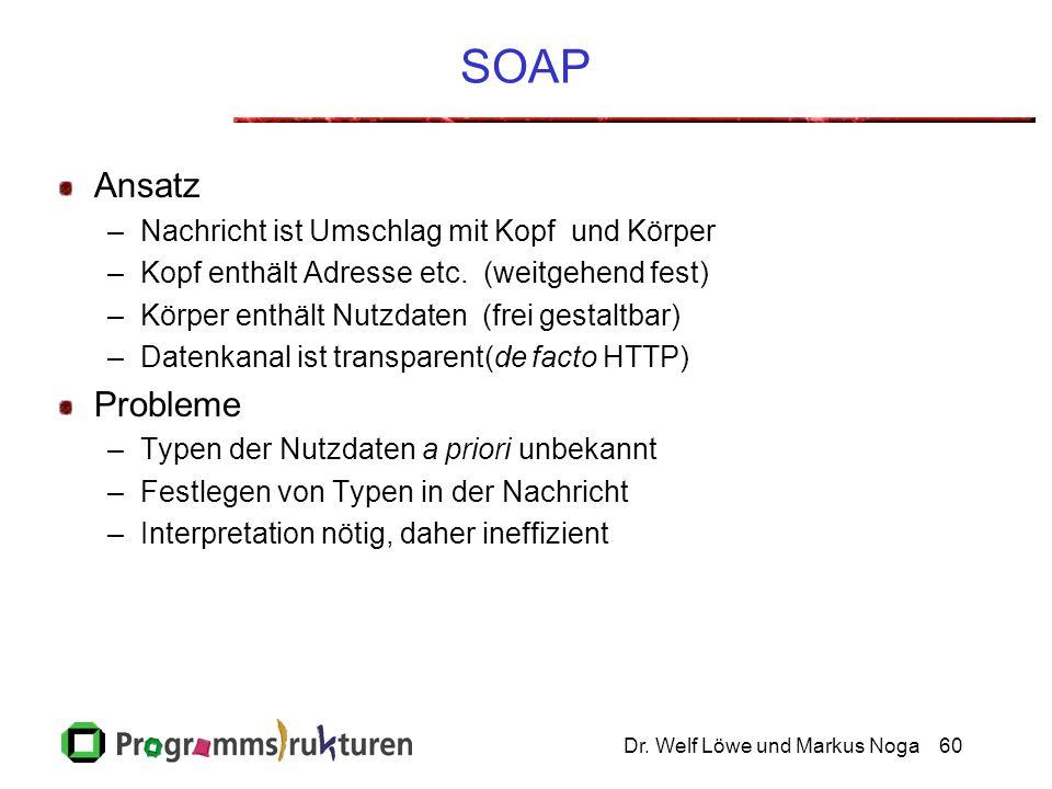 Dr. Welf Löwe und Markus Noga60 SOAP Ansatz –Nachricht ist Umschlag mit Kopf und Körper –Kopf enthält Adresse etc. (weitgehend fest) –Körper enthält N