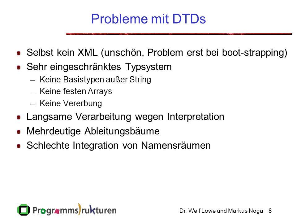 Dr. Welf Löwe und Markus Noga8 Probleme mit DTDs Selbst kein XML (unschön, Problem erst bei boot-strapping) Sehr eingeschränktes Typsystem –Keine Basi