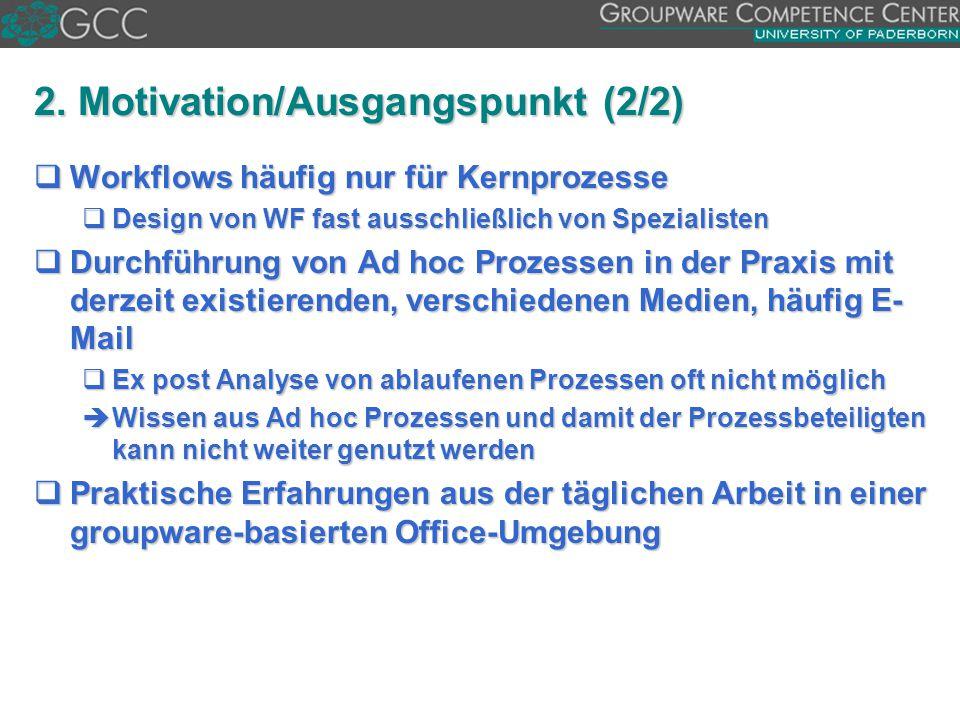 2. Motivation/Ausgangspunkt (2/2)  Workflows häufig nur für Kernprozesse  Design von WF fast ausschließlich von Spezialisten  Durchführung von Ad h