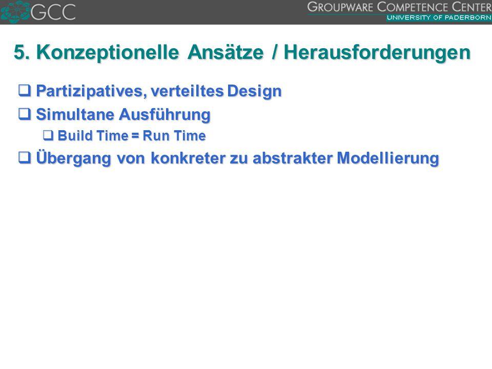 5. Konzeptionelle Ansätze / Herausforderungen  Partizipatives, verteiltes Design  Simultane Ausführung  Build Time = Run Time  Übergang von konkre