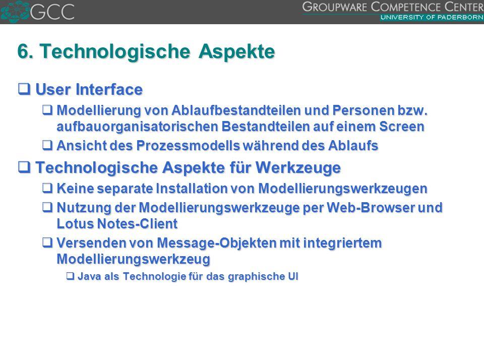 6. Technologische Aspekte  User Interface  Modellierung von Ablaufbestandteilen und Personen bzw. aufbauorganisatorischen Bestandteilen auf einem Sc