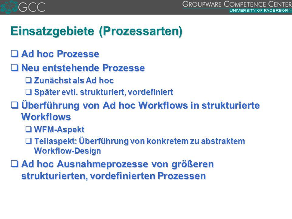 Einsatzgebiete (Prozessarten)  Ad hoc Prozesse  Neu entstehende Prozesse  Zunächst als Ad hoc  Später evtl. strukturiert, vordefiniert  Überführu