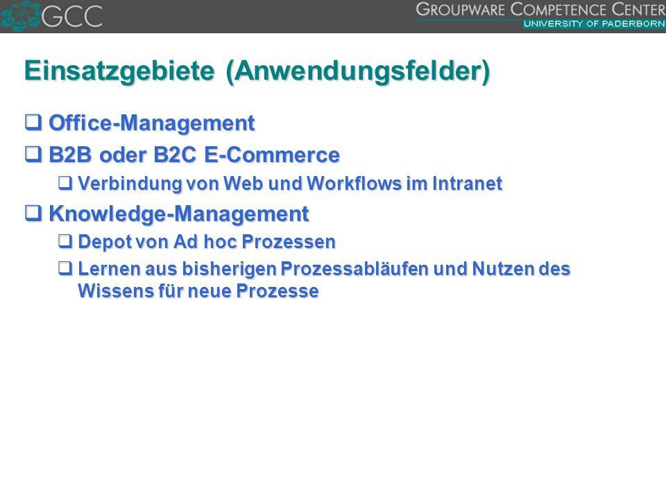 Einsatzgebiete (Anwendungsfelder)  Office-Management  B2B oder B2C E-Commerce  Verbindung von Web und Workflows im Intranet  Knowledge-Management