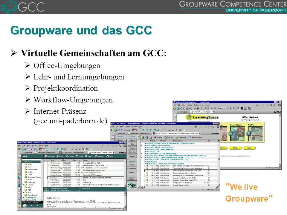 We live Groupware Groupware und das GCC   Virtuelle Gemeinschaften am GCC:   Office-Umgebungen   Lehr- und Lernumgebungen   Projektkoordination   Workflow-Umgebungen   Internet-Präsenz (gcc.uni-paderborn.de)