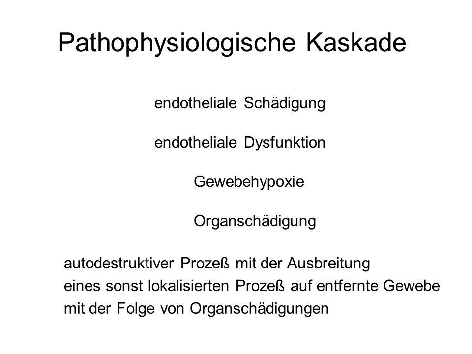 Pathophysiologische Kaskade endotheliale Schädigung endotheliale Dysfunktion Gewebehypoxie Organschädigung autodestruktiver Prozeß mit der Ausbreitung eines sonst lokalisierten Prozeß auf entfernte Gewebe mit der Folge von Organschädigungen
