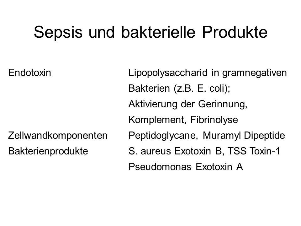 Sepsis und bakterielle Produkte EndotoxinLipopolysaccharid in gramnegativen Bakterien (z.B. E. coli); Aktivierung der Gerinnung, Komplement, Fibrinoly