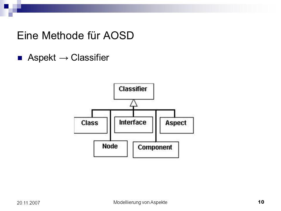 Modellierung von Aspekte10 20.11.2007 Eine Methode für AOSD Aspekt → Classifier