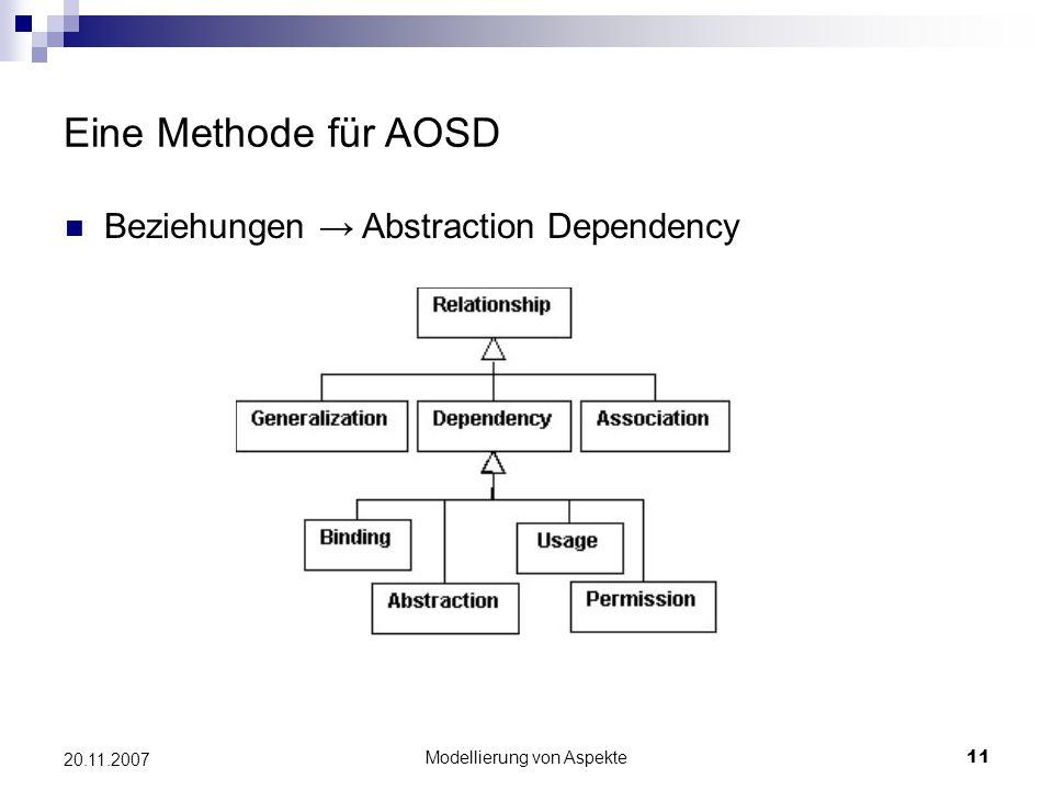 Modellierung von Aspekte11 20.11.2007 Eine Methode für AOSD Beziehungen → Abstraction Dependency