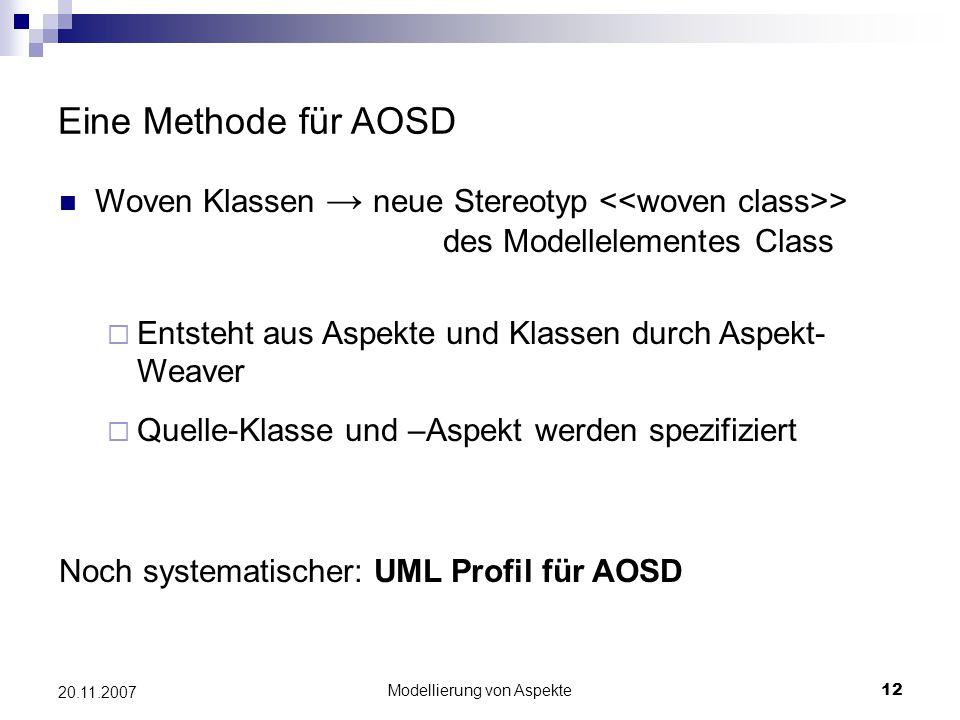Modellierung von Aspekte12 20.11.2007 Eine Methode für AOSD Woven Klassen → neue Stereotyp > des Modellelementes Class  Entsteht aus Aspekte und Klas