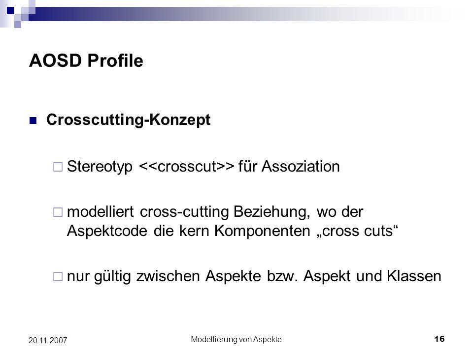 Modellierung von Aspekte16 20.11.2007 AOSD Profile Crosscutting-Konzept  Stereotyp > für Assoziation  modelliert cross-cutting Beziehung, wo der Asp